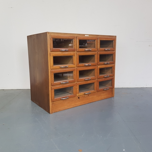 Vintage Oak Midcentury 12 Drawer Haberdashery Cabinet