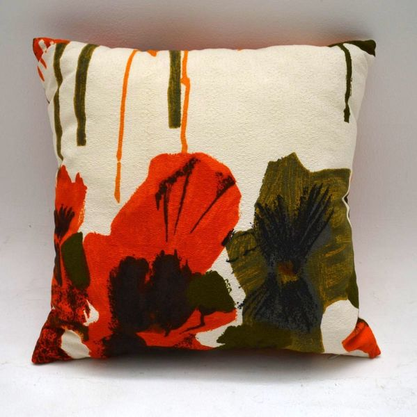 Retro Scatter Cushion In Original Vintage Heal's Fabric – Pansies By Howard Carter