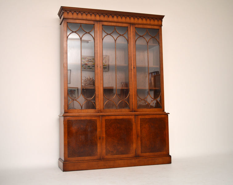 Large Burr Walnut Georgian Bookcase