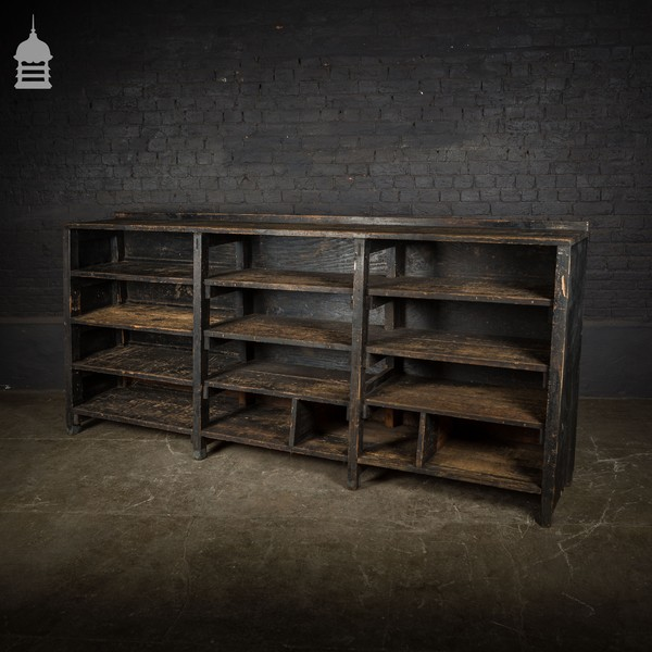 Large Mid Century Industrial Pine Shelving Unit With Distressed Black Paint Finish