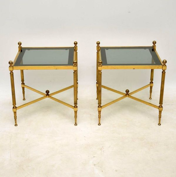 1950's Pair Of Vintage French Brass Side Tables