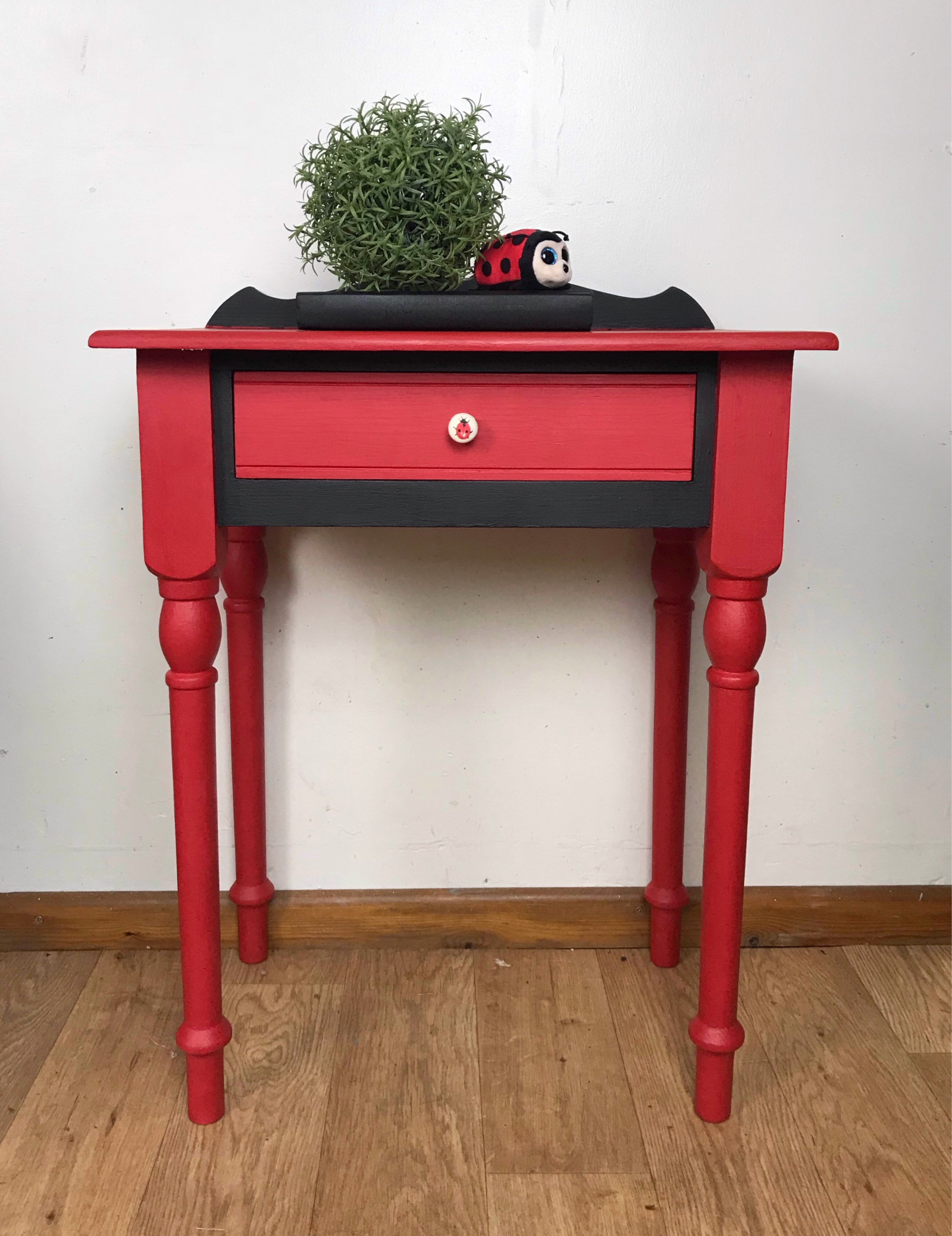 Small Chest Of Drawers Hand Painted Hallway Storage Red Drawers Storage Hallway Storage Tall Drawers Bedside Drawers Side Table