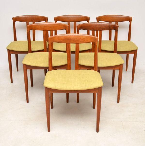 1960's Vintage Set Of 6 Danish Teak Dining Chairs