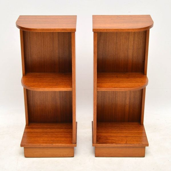 1960's Pair Of Vintage Walnut Bedside Cabinets
