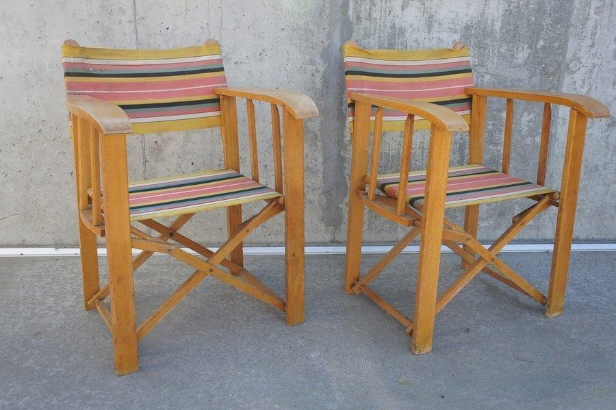 Pair Folding Deck Chairs Garden Chairs