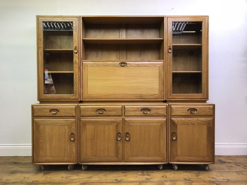 Stunning Ercol Sideboard Light Blonde Elm Retro Vintage Cabinet Cupboard Castors