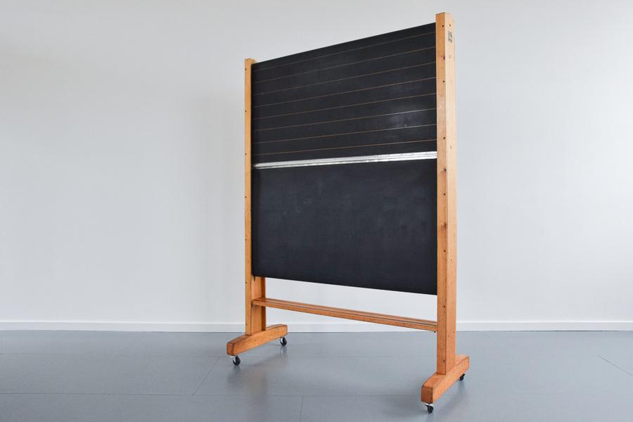 Vintage Large School Rolling Blackboard Chalkboard On Castors