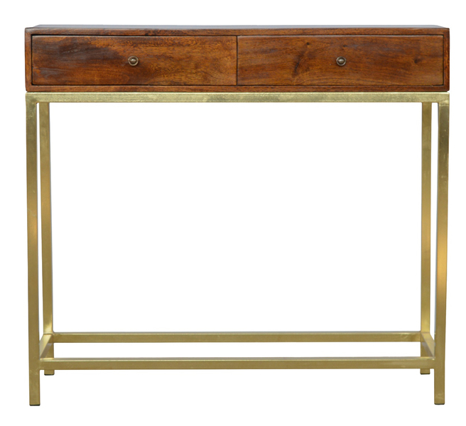2 Drawer Solid Wood And Gold Iron Base Console Table