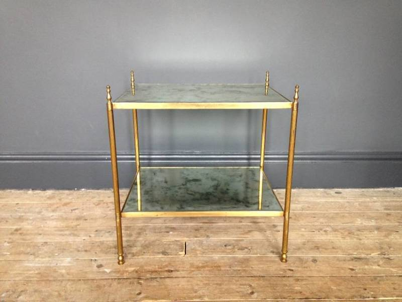 Brass Side Table With Verre Eglomise