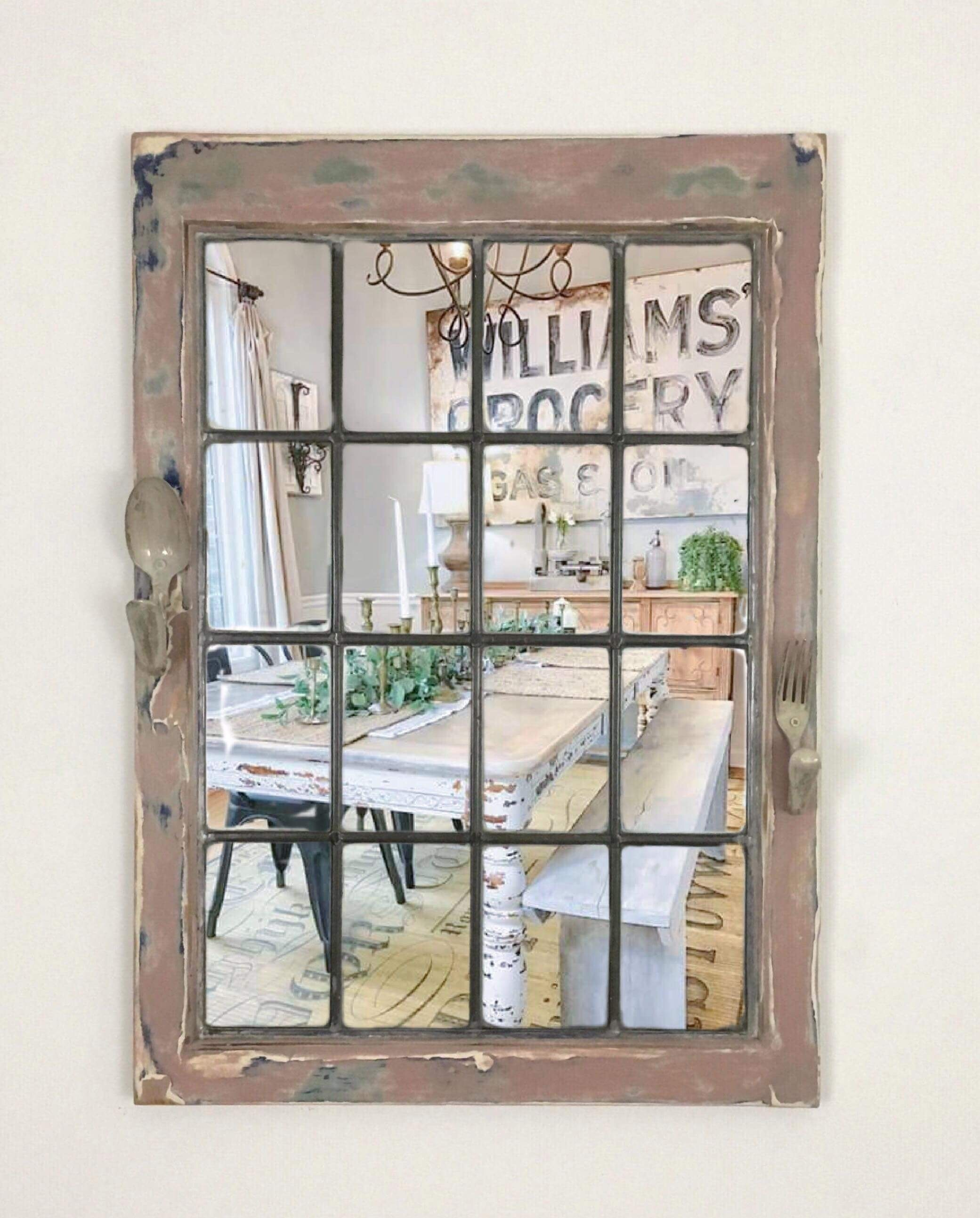Industrial Wall Mounted Mirror Reclaimed Window Mirror Vintage Wall Mounted Mirror Window Mirror Wall Mirror Dining Room Mirror Hooks Vinterior