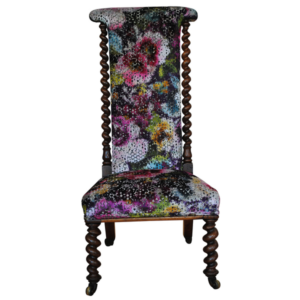 Victorian Walnut Prie Dieu Chair Upholstered In Designers Guild