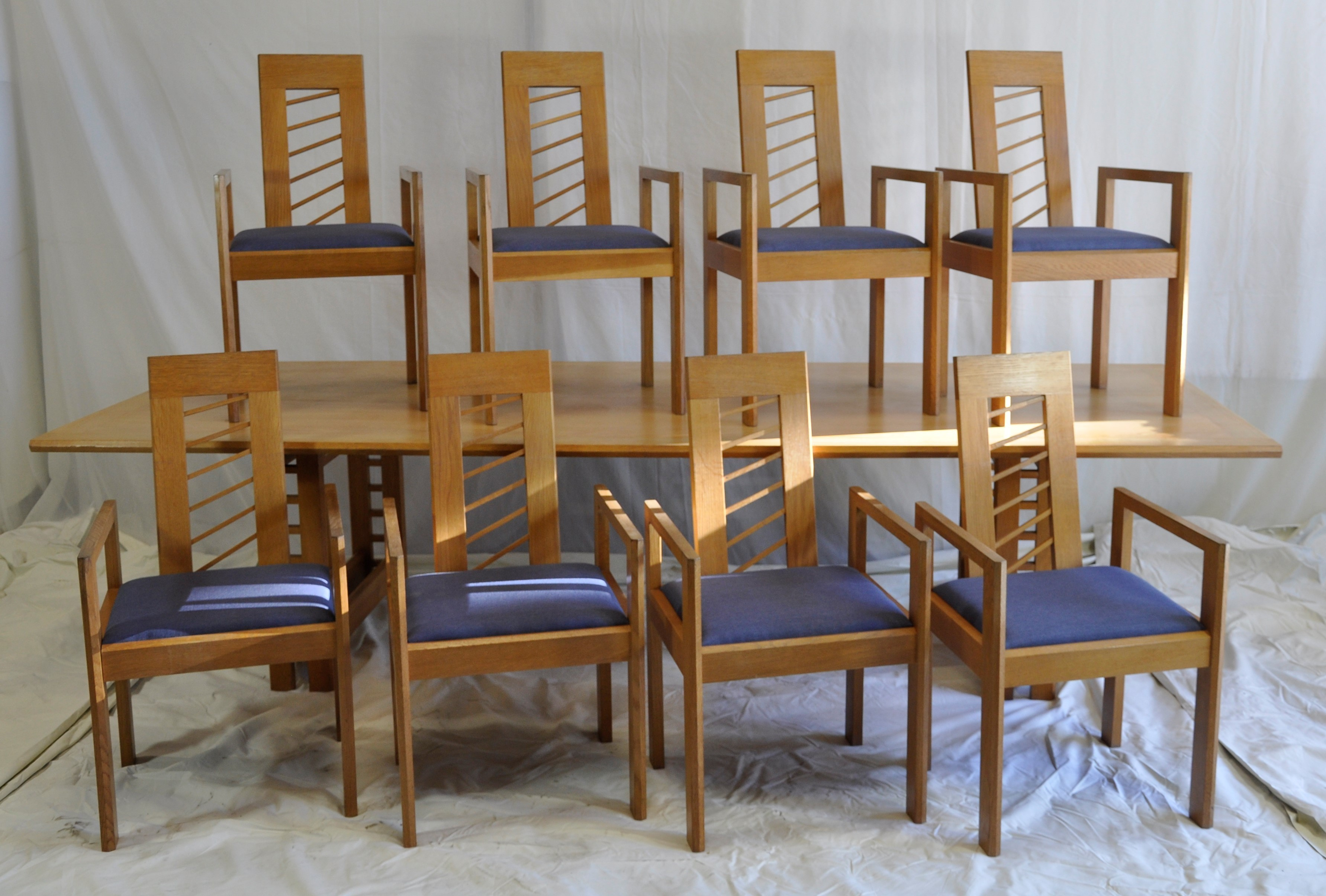 huge discount 90b1e 23a5a Miles Carter Solid Light Oak Dining Table With 8 Chairs.