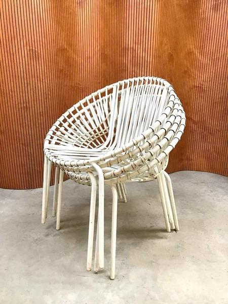 Vintage Industrial Wire Balloon Chairs Garden Chairs Outdoor Garden Set