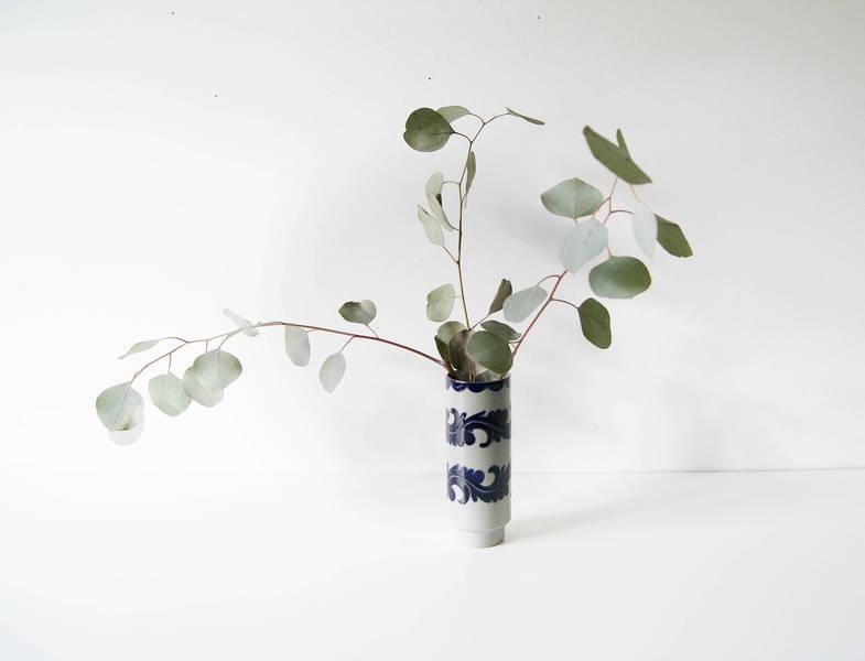 Vase Incised Decor, Bulbous Vase, Ceramic Vase, Vase Gray Blue