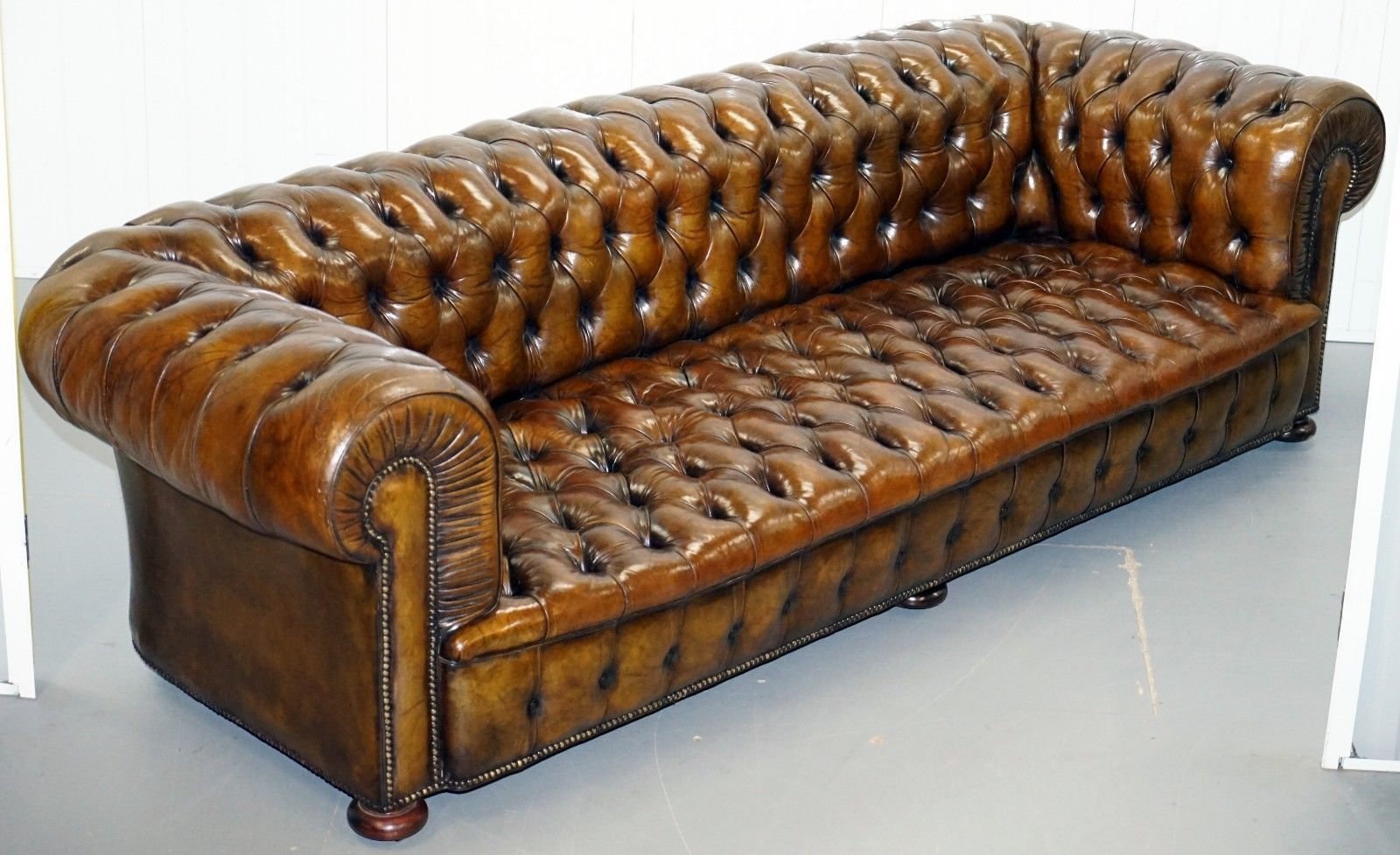 Awe Inspiring Huge Rare Victorian Horse Hair Fully Restored Brown Leather Chesterfield Sofa Pabps2019 Chair Design Images Pabps2019Com