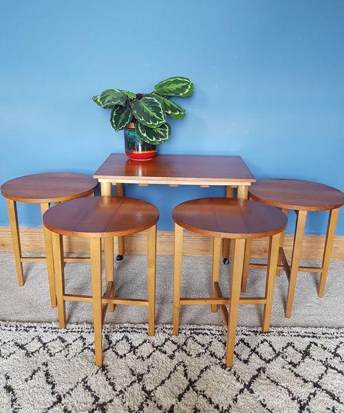 Mid Century Retro Poul Hundevad Set Of 5 Nesting Side Tables Space Saver Teak