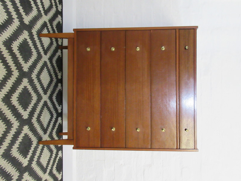 Mid Twentieth Century William Lawrence Dark Teak Chest Of Five Drawers