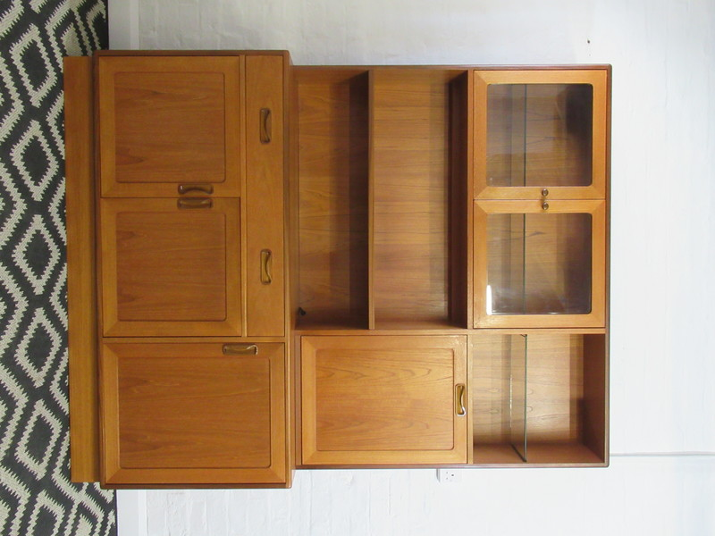 G Plan Fresco Large Teak Two Piece Wall Unit With Cupboards, Drawers And Shelves