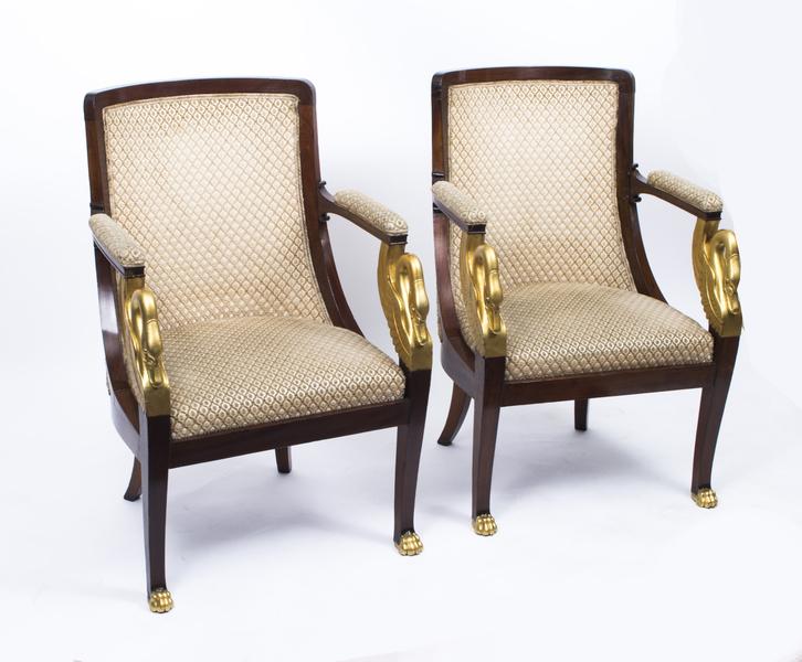 Antique Pair Empire Gilded Swan Neck Mahogany Armchairs C1820