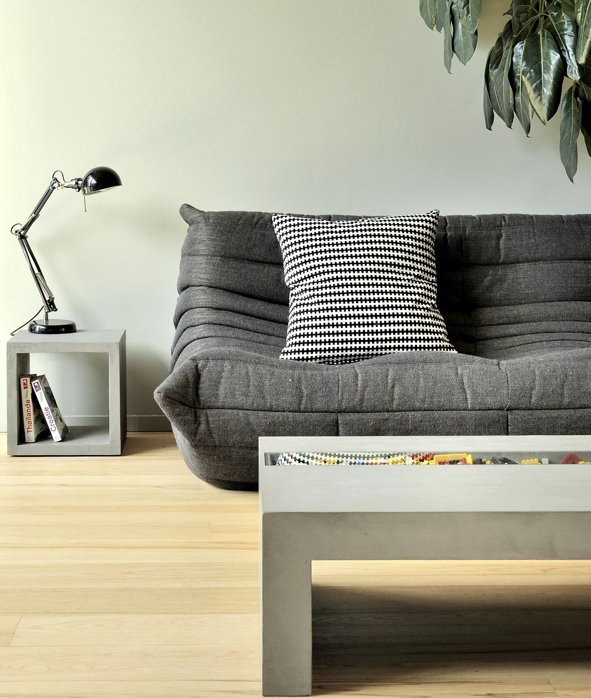 Concrete Coffee Table With Tempered Glass